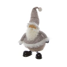 Fabric Santa Standing with Shaking Body Grey (40cmH)