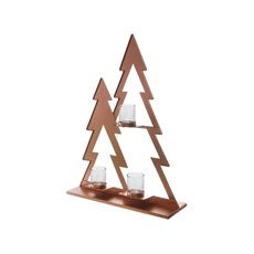 Christmas Candle Holders - Metal Christmas Tree with 3 Tealight Glass Holder Rose Gold