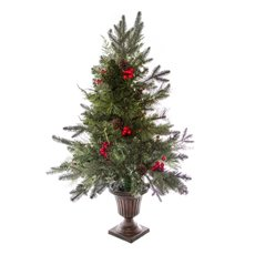 Berry Pine Christmas Tree Decorated Red Berries (90cmH)