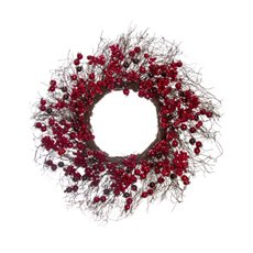 Lush Mixed Berry Twiggy Wreath Red (50cm)