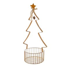Metal Tree Pot Plant Holder with Basket Gold (66cmH)