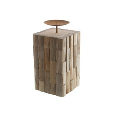 Natural Pillar Moziac Candle Holder (15x32cmH)