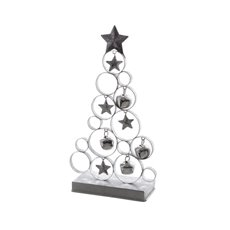 Decorative Christmas Trees - Metal Tree Decoration Silver (17X7X31cm)