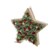 Christmas Ornaments - Pine Boxed Star with 8 LED Green (37cmH)