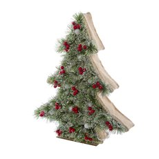 Decorative Christmas Trees - Pine Boxed Tree with 8 LED Green (44cmH)