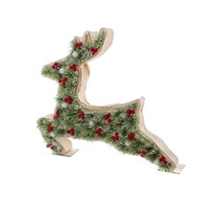 Pine Boxed Deer decoration with 8 LED Green