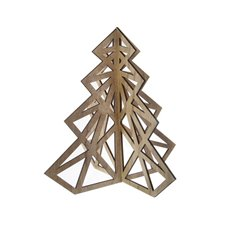 Decorative Christmas Trees - Tree Cut Out Decoration with Natural (52x59cmH)
