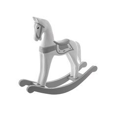 Wooden Rocking Horse Silver (26x17cmH)