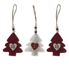 Hanging Felt Tree Decoration Pack 3, 2xRed, 1xWhite (7.5cmH)