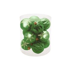 Hanging Tree Decoration Bauble Pack 12 Hunter Green (8cm)