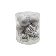 Hanging Tree Decoration Bauble Pack 12 Silver (8cm)