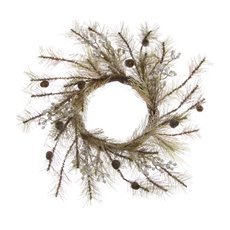 Christmas Wreath - Frosted Pine Wreath with Gumnuts Brown (45cm)