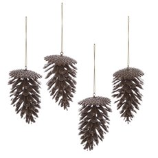 Christmas Tree Decorations - Artificial Pinecone PVC Brown (7x11cmH) Pack 4