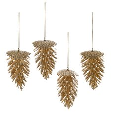 Artificial Pinecone Pack 4 PVC Gold (7x11cmH)
