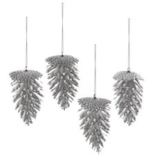 Christmas Tree Decorations - Artificial Pine Cone PVC Silver (7x11cmH) Pack 4