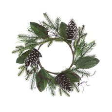 Artificial Evergreen Snow Pinecone Wreath (45cmH)