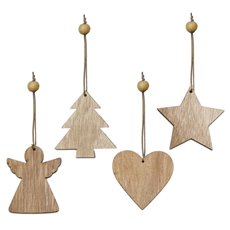 Christmas Tree Decorations - Hanging Wooden Decoration Assorted Natural (7cm) Set 12