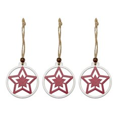 Christmas Tree Decorations - Hanging Wooden Round Star Decoration Red (6cm) Pack 6
