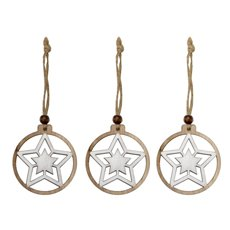Christmas Tree Decorations - Hanging Wooden Round Star Natural White (6cm) Pack 6