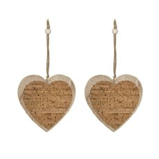 Christmas Tree Decorations - Hanging Wooden Cork Heart Natural (13.5cm) Pack 2