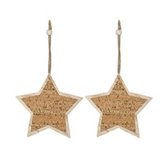 Christmas Tree Decorations - Hanging Wooden Cork Star Natural (15.5cm) Pack 2