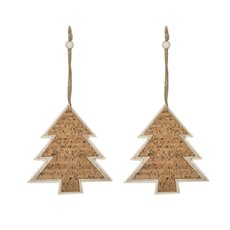 Christmas Tree Decorations - Hanging Wooden Cork Tree Natural (14.5cm) Pack 2