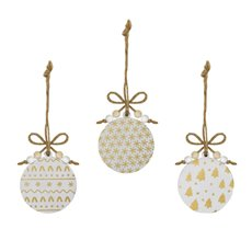 Christmas Tree Decorations - Hanging Wooden Bauble Assorted Gold (8cm) Set 9