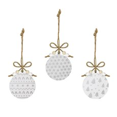Christmas Tree Decorations - Hanging Wooden Bauble Assorted Silver (8cm) Set 9