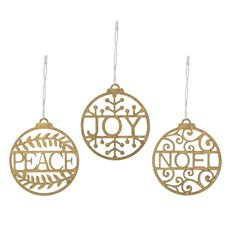 Christmas Tree Decorations - Hanging Wooden Bauble Assorted Gold (8cm) Set 12