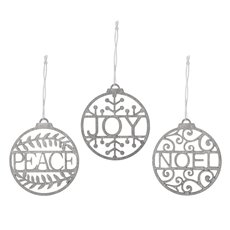 Christmas Tree Decorations - Hanging Wooden Bauble Assorted Silver (8cm) Set 12