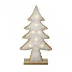 Christmas Ornaments - Wooden Fur Tree Decoration with LED White (17x30.5cmH)