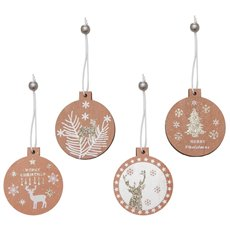 Christmas Tree Decorations - Hanging Wooden Decoration Assorted Pink (7cm) Set 8