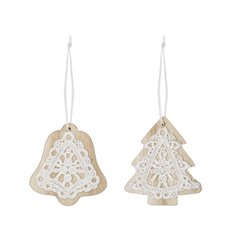 Christmas Tree Decorations - Hanging Wooden Bell Tree Lace Assorted Natural (8cm) Set 12