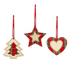 Christmas Tree Decorations - Hanging Wooden Tartan Star Heart Tree Assorted (8cm) Set 9