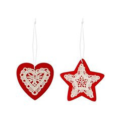 Christmas Tree Decorations - Hanging Wooden Star Heart Lace Assorted Red (8cm) Set 12