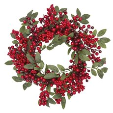 Christmas Wreath - Berry Leaf Christmas Wreath Red (45cm)