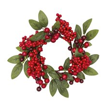 Christmas Wreath - Berry Leaf Christmas Candle Ring Red (24cm)