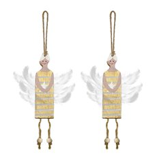 Christmas Tree Decorations - Hanging Wooden Fairy Decoration Gold (10cm) Pack 2