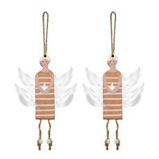 Christmas Tree Decorations - Hanging Wooden Fairy Decoration Pink (10cm) Pack 2