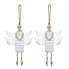 Christmas Tree Decorations - Hanging Wooden Fairy Decoration Silver (10cm) Pack 2