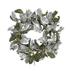 Christmas Wreath - Garden Fresh Look Christmas Wreath Mistletoe Grey (56cm)