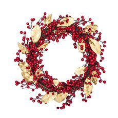 Christmas Wreath - Elegant Berry Christmas Wreath Gold Leaf (50cm)