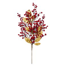 Christmas Flowers - Elegant Berry Christmas Spray Gold Leaf (74cm)
