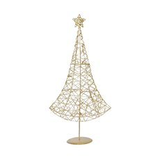 Decorative Christmas Trees - Metal Christmas Tree Decoration Gold (70cm)