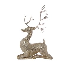Christmas Ornaments - Metal Reindeer Sitting Decoration Champagne Gold (25x40cm)