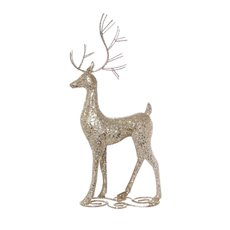 Home Seasonal Decorations - Metal Reindeer Standing Decoration Champagne Gold (18x48cm)
