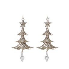 Christmas Tree Decorations - Hanging Metal Christmas Tree Champagne Gold (18cmH) Pack 2