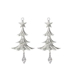 Christmas Tree Decorations - Hanging Metal Christmas Tree Silver (18cmH) Pack 2