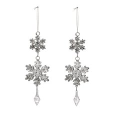 Christmas Tree Decorations - Hanging Metal Snowflake Silver (18cmH) Pack 2