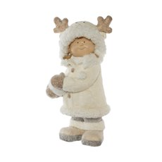 Home Seasonal Decorations - Sally Figurine Decoration Fur Coat White (43.5cmH)